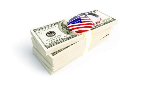 a lot of money, badge with usa flag on a white background 3D illustration, 3D rendering