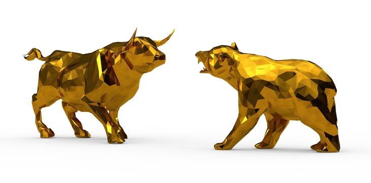 bull and bear market stock 3d