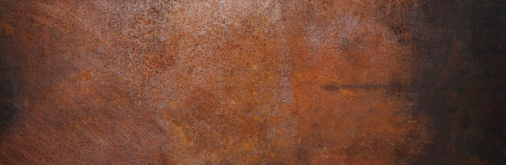 rusty dark metal backdrop or background texture , banner size