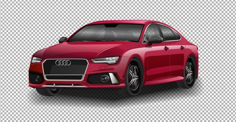 DETROIT - JANUARY 14 : The world premeire of the new Audi A3 vector illustration on transparent background, racing exclusive car with realistic shadow