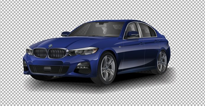 Maspalomas, Gran Canaria, Spain - December 29, 2018: Blue Metallic BMW M240 vector illustration on transparent background, racing exclusive car with realistic shadow