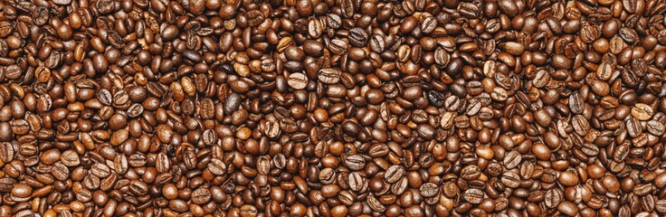 Roasted coffee beans background texture or backdrop, banner size