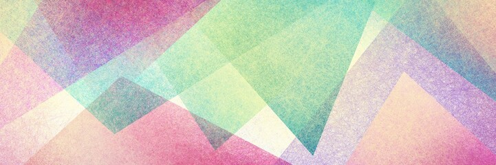 Abstract modern background in green pink and purple colors and contemporary triangle square and block shapes layered in random geometric art pattern with fine texture