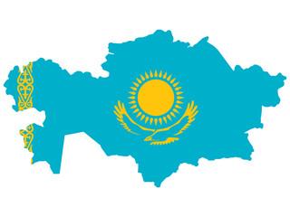 Map Kazakhstan Flag Vector illustration Eps 10 Wall mural