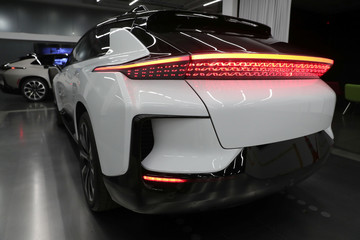 Faraday Future's luxury electric car FF91 is seen at the company's headquarters in Gardena