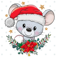 Cartoon mouse in Santa hat with christmas wreath