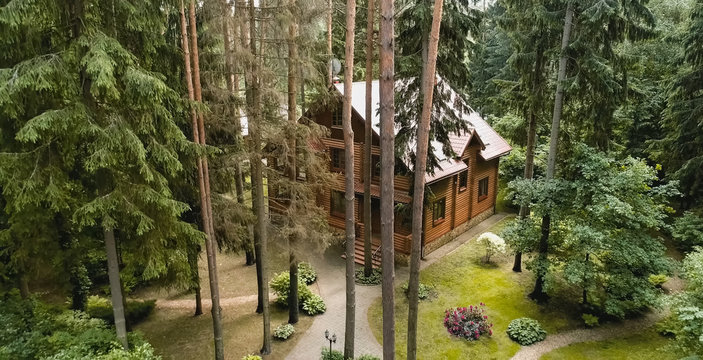 Constructed from wooden log house, wooden house.