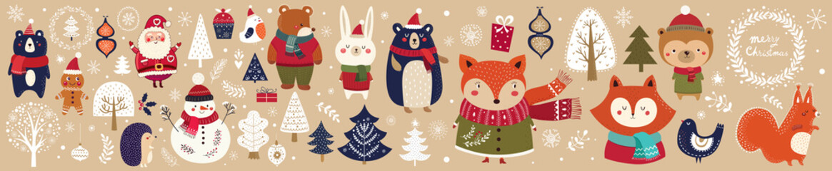 Christmas vector collection with cute fox, snowman,  bird and floral elements