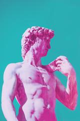 Profile of David statu by Michelangelo Buonarotti replica in vaporwave style