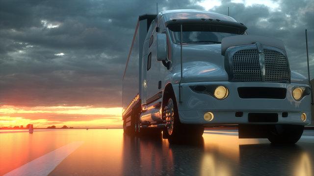 Semi trailer on asphalt road highway at sunset - transportation background. 3d rendering