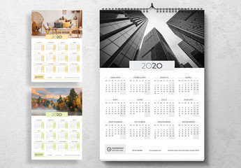 Annual Wall Calendar Layout with Colorful Accents