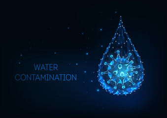 Futuristic water contamination concept with glowing low polygonal water drop and virus cell.