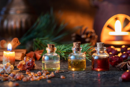 Christmas mix of essential oils with frankincense, myrrh, star anise, pine