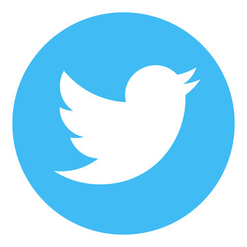 VORONEZH, RUSSIA - NOVEMBER 21, 2019: Twitter logo round icon in light blue color