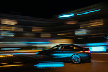 Spoed Foto op Canvas Nacht snelweg Monaco city night car traffic near Hotels and Casino