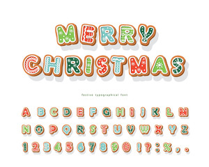 Christmas Gingerbread Cookie font. Hand drawn cartoon colorful alphabet for holidays. Biscuit letters and numbers. Vector
