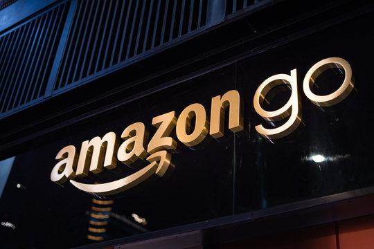 Close up on the Amazon Go store sign above the convenience shop entrance, at Bryant Park in Manhattan.