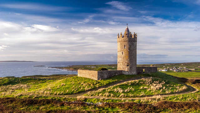 Doonagore Castle round tower in County Clare, Ireland