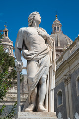 Wall Mural - CATANIA, ITALY - APRIL 8, 2018: The statue of St. Sextus (Sixtus) in front of Basilica di Sant'Agata.