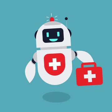 Flat Medical Robot Illustration Mascot Vector
