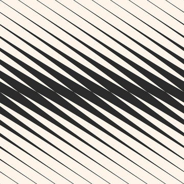Vector diagonal halftone stripes seamless pattern, slanted parallel lines. Geometric monochrome texture with gradient transition effect. Abstract modern graphic background, repeat tiles. Trendy design