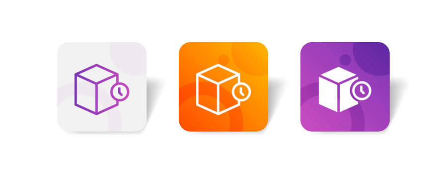 box loading duration time outline and solid icon in smooth gradient background button