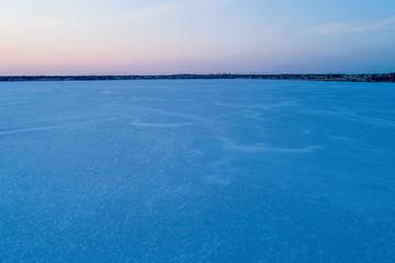 Minimalist aerial landscape of salt lake at dusk