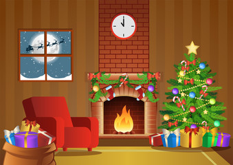 fireplace room decorate for Christmas night,vector illustration