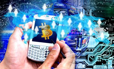 electronic transactions bitcoin concept idea