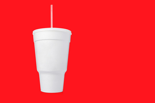 Large Styrofoam Cup with Straw