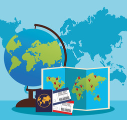 globe and world map with passport and passboards