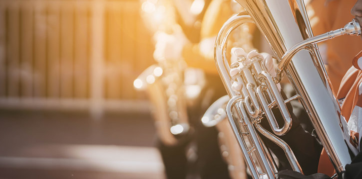 Young student Musician playing the Euphonium with Music practice of Band, Musical concept
