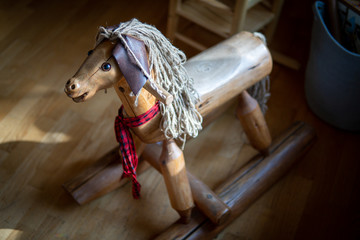 Beautiful handmade hobby horse in a county home in Southern Oregon