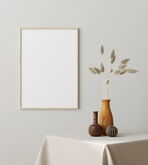 Mock up frame close up with dry grass in vase on table, Scandinavian style, 3d render