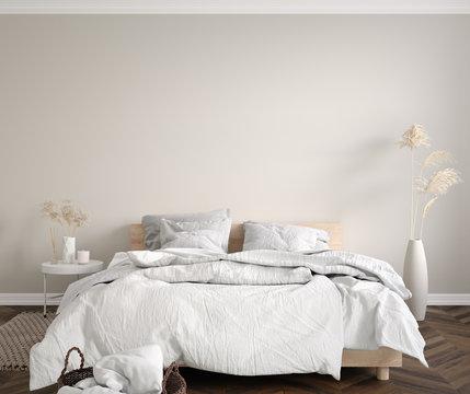 Scandinavian bedroom close up, wall mock up, 3d render