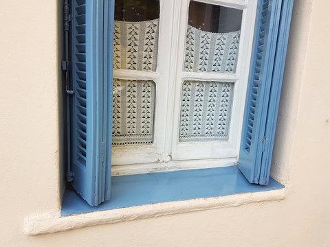 windows old style wooden in Ioannina city greece