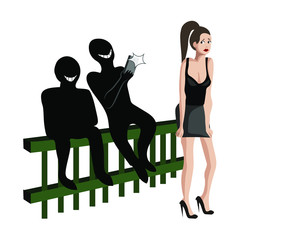 Stop sexual harassment, men are whistling at woman and taking pictures of her