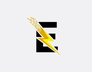 Flash E Letter Logo, Electrical Bolt Technology Logo Icon