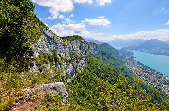 A panoramic view on the Lake Annecy from mont Veyrier to mont Baron hiking track, France