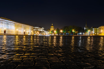 Saint-Petersburg, Russia, May 6, 2015: View of St. Petersburg. Saint Isaac's Cathedral from Palace Square at night