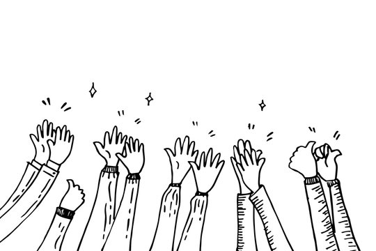 doodle hands up,Hands clapping. applause gestures. congratulation business. vector illustration