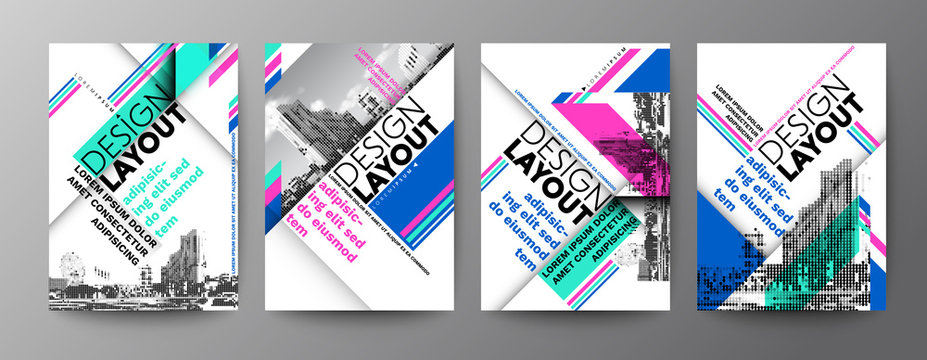 Set of Diagonal grid Typography Design layout. Abstract background for Poster, Brochure, Flyer, leaflet, Annual report, Book cover, banner. Template in A4 size.