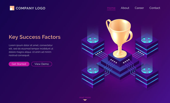 Key success factors, isometric business concept vector. Gold trophy cup on pedestal with traffic server connections, database neon icons on purple banner. Computing analytical service for winner