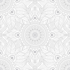 Photo sur Toile Style Boho Gray and white ethnic boho seamless pattern. Tribal vintage background with floral mandala, oriental ornament. Vector art.