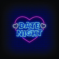 Date Night Neon Signs Style Text Vector