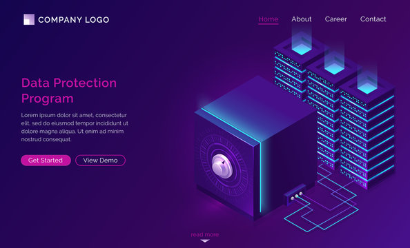 Data protection program, isometric concept vector illustration. Server racks and digital safe for secure information storage, protection against hacking, breaking and personal data stealing