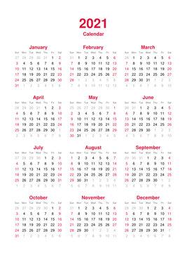 Calendar 2021 - 12 months yearly vector calendar in year 2021 - calendar template - planner calendar