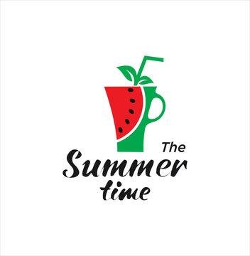 Watermelon fruit logo . Fresh Watermelon Juice Logo Natural . Watermelon drink design logo . Summer time Logo .