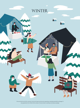 Christmas and Happy New Year Winter illustrations.