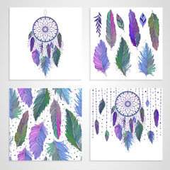 Vibrant hand drawn pink, blue, green feathers and dreamcatchers, set of cards and seamless pattern with floral details, vector illustration boho design, can be used for invitation, postcard.